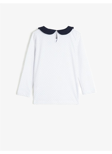 Koton  %100 Pamuk Yaka Detayli Uzun Kollu Puantiyeli Tisört Beyaz